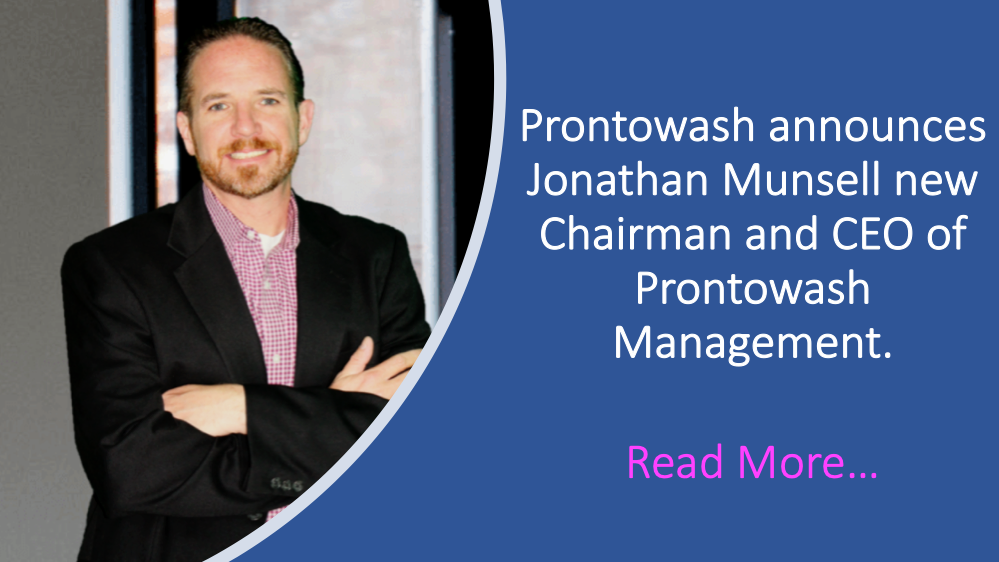 ProntoWash announced that Jonathan Munsell has been named as Chairman and Chief Executive Officer of ProntoWash Management.